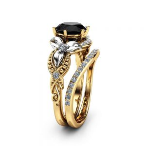 2 Carat Black Diamond Engagement Ring Set Floral Vintage Matching Rings 14K Two Tone Gold Engagement Rings