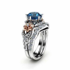 Blue Diamond Engagement Ring Set 14K Two Tone Gold Blue Diamond Engagement Ring