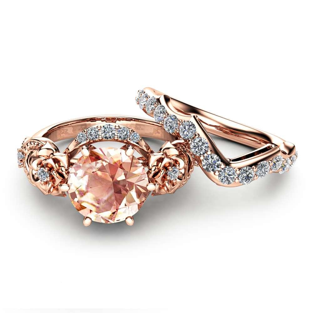 Morganite Engagement Ring Set 14K Rose Gold Morganite Ring Floral Engagement Ring with Matching Diamond Band