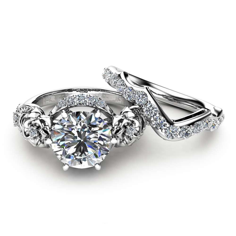 Moissanite Engagement Ring Set 14K White Gold Moissanite Ring Floral Engagement Ring with Matching Diamond Band