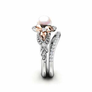 Pearl Engagement Ring Set White Gold Ring Flower Engagement Ring Gold Pearl Ring