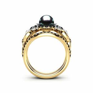 Black Pearl Engagement Ring Set White Gold Ring Flower Engagement Ring Gold Pearl Ring