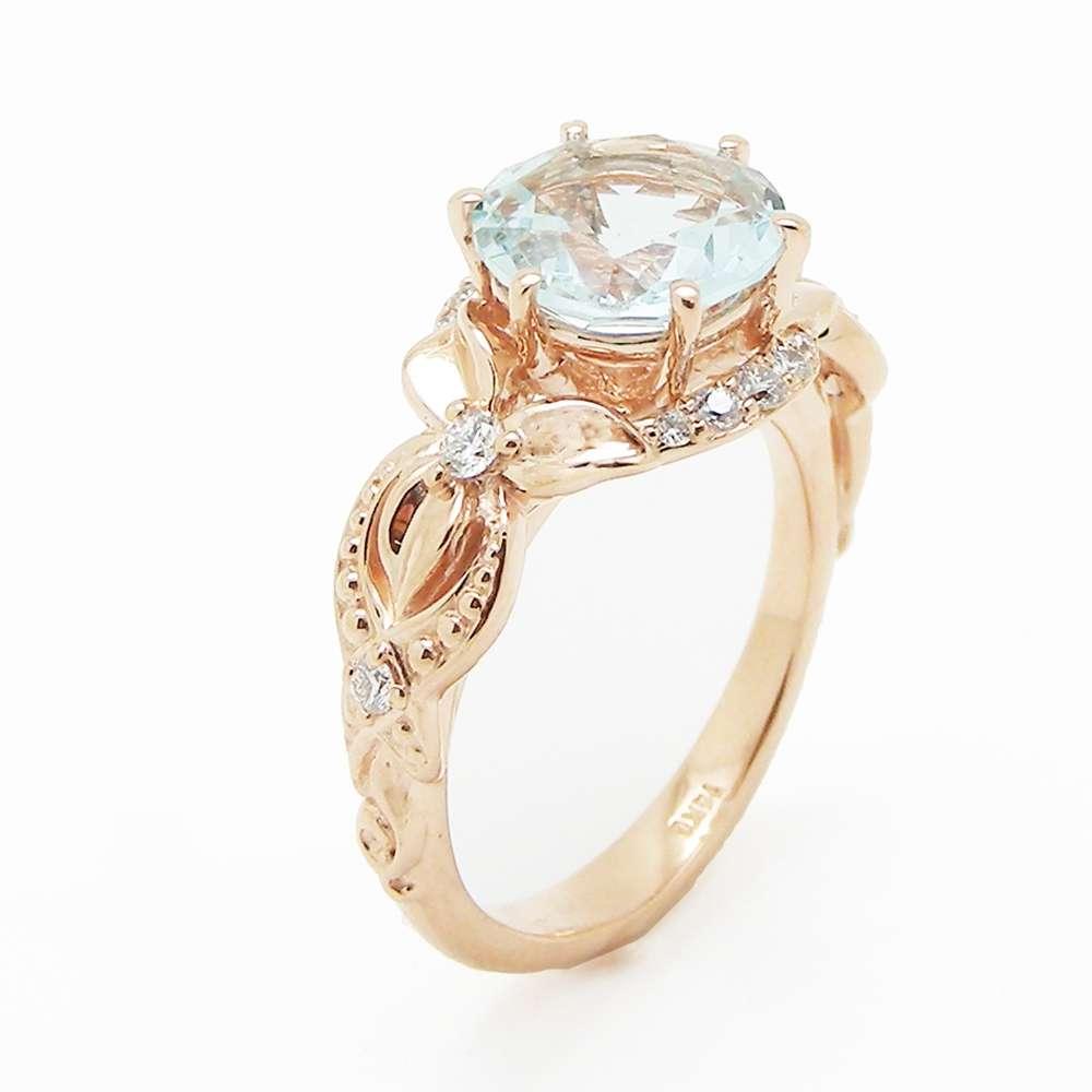 Unique Aquamarine Engagement Ring 14K Rose Gold 2 Carat Aquamarine Ring Art Deco Engagement Ring
