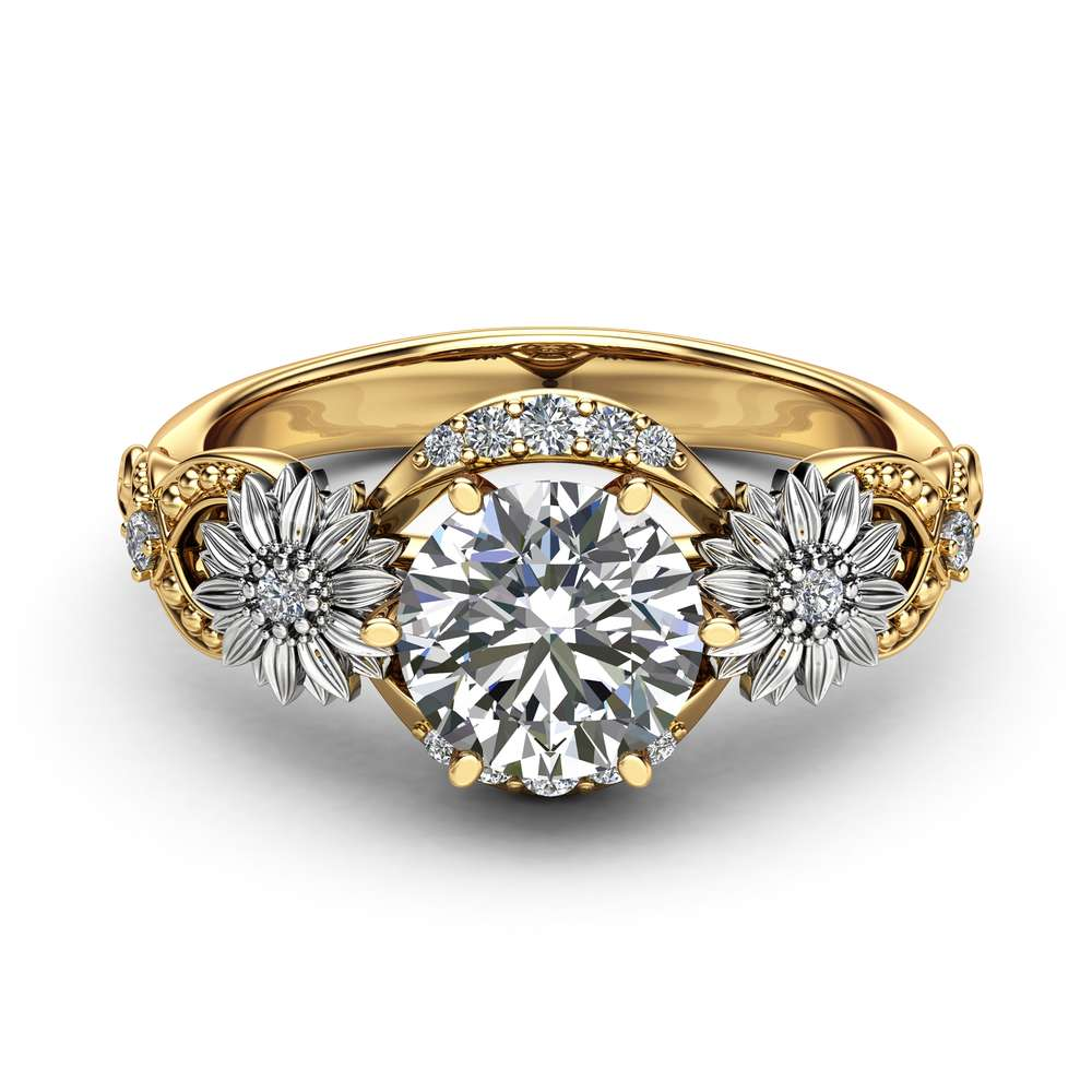 Sunflower Moissanite Engagement Ring 14K Two Tone Gold Engagement Ring Moissanite Sunflower Ring