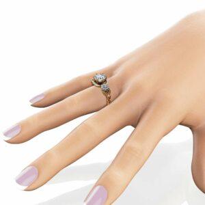 Sunflower Moissanite Engagement Ring 14K Two Tone Gold Engagement Ring Moissanite Sunflower Ring