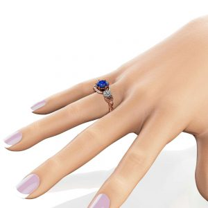 Sunflower Blue Sapphire Engagement Ring 14K Two Tone Gold Engagement Ring Sapphire Sunflower Ring