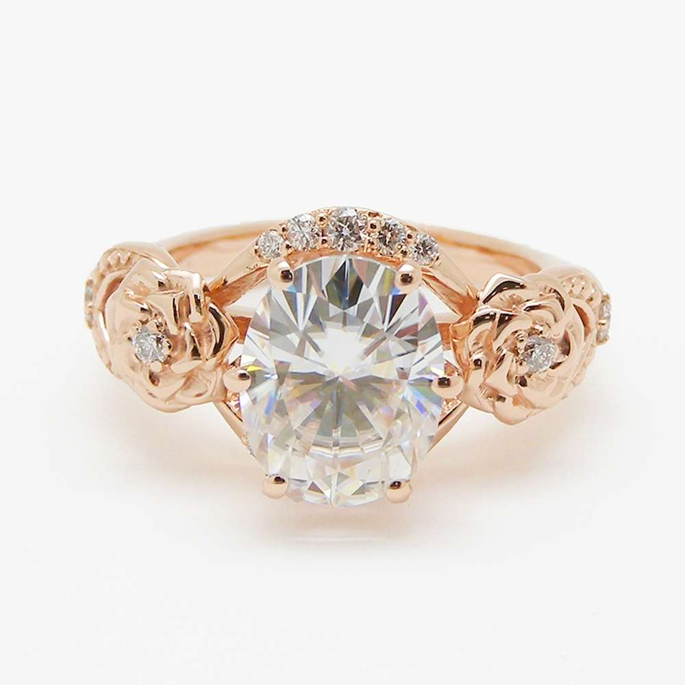 Oval Moissanite Engagement Ring 14K Two Tone Gold Engagement Ring Moissanite Floral Ring