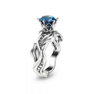 Handmade Blue Topaz Engagement Ring 14K White Gold Solitaire Wedding Ring Unique Blue Topaz Bridal Ring