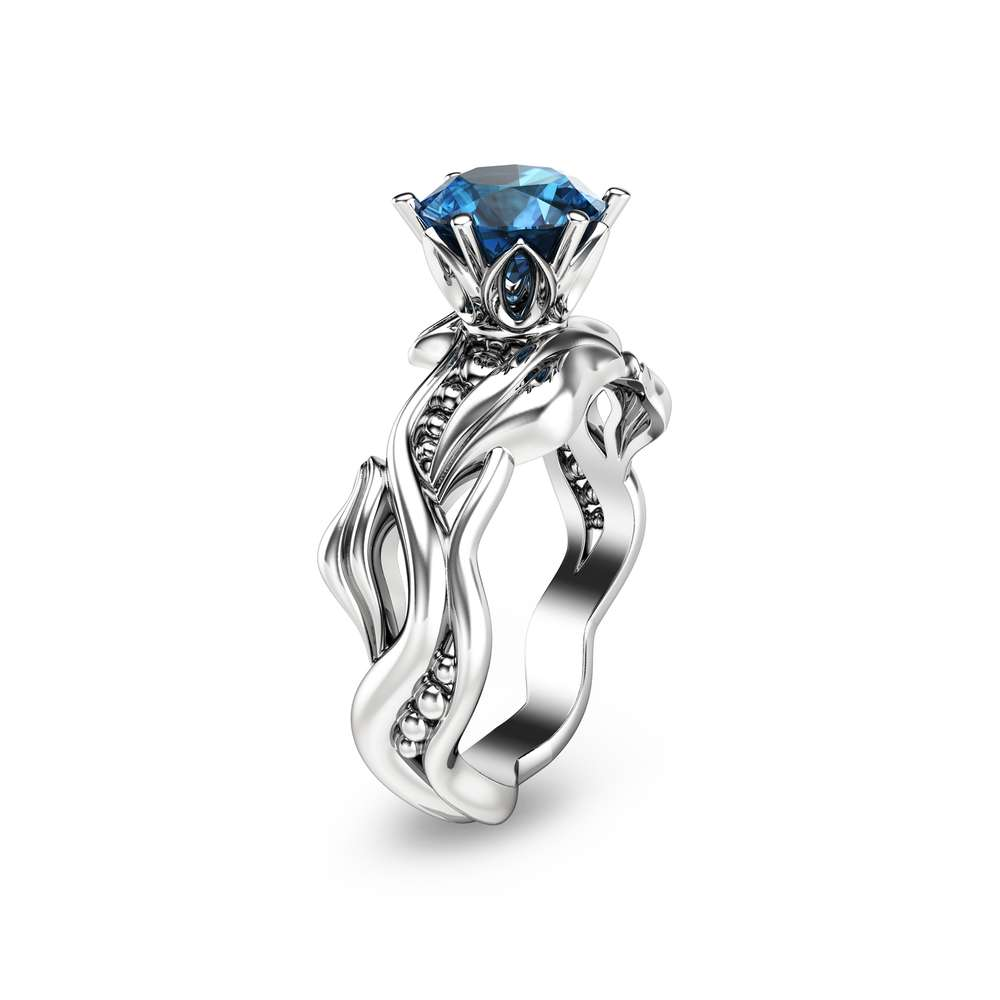 Handmade Blue Topaz Engagement Ring 14K White Gold Solitaire Wedding Ring Unique Blue Topaz Bridal Ring