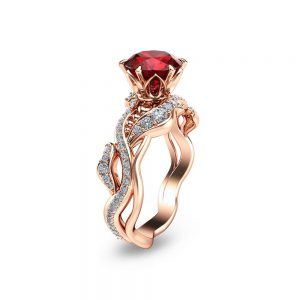 Rose Gold Ruby Engagement Ring Twisted Ruby Bridal Ring 14K Rose Gold Engagement Ring