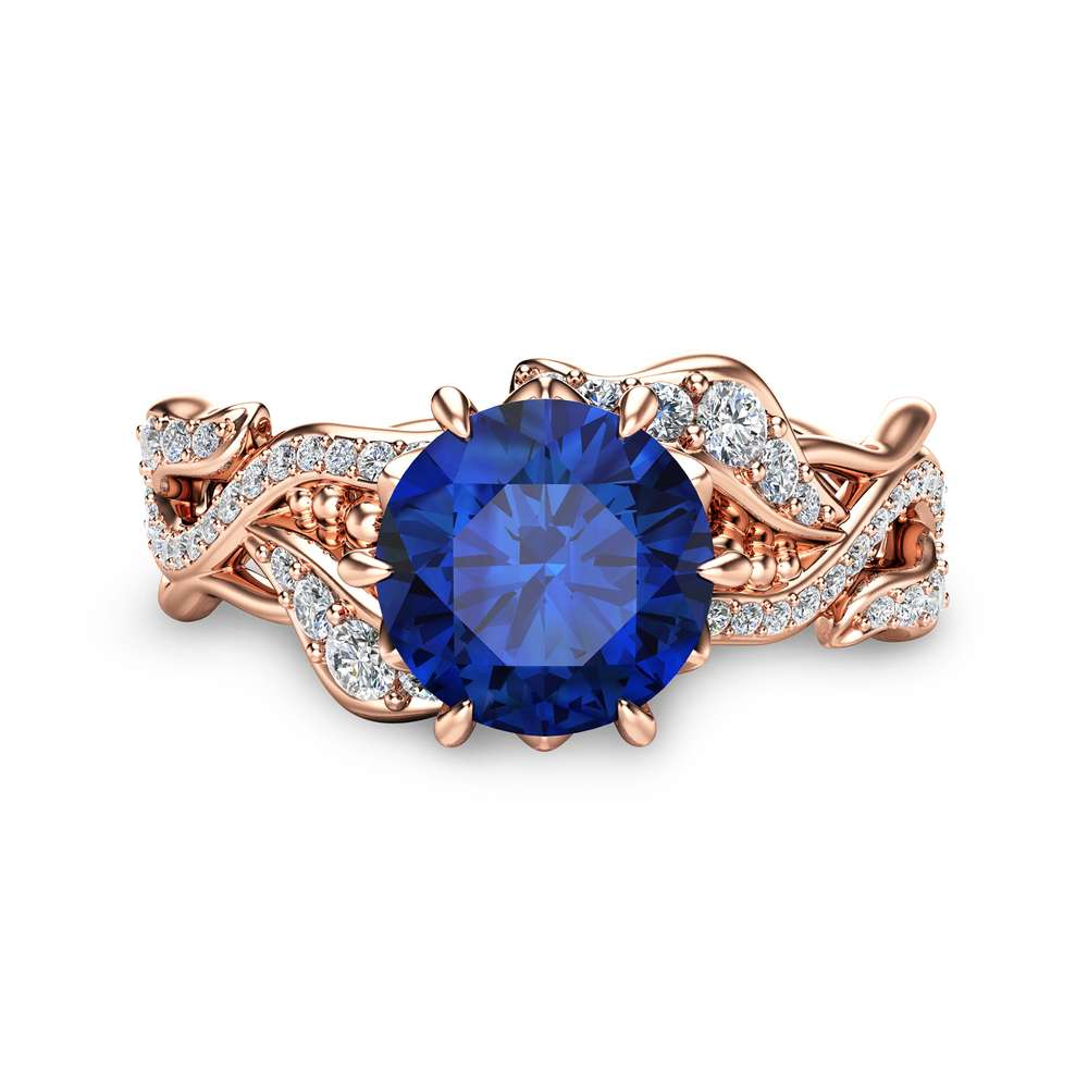 Rose Gold Natural Sapphire Engagement Ring Blue Sapphire Twisted Bridal Ring 14K Rose Gold Engagement Ring