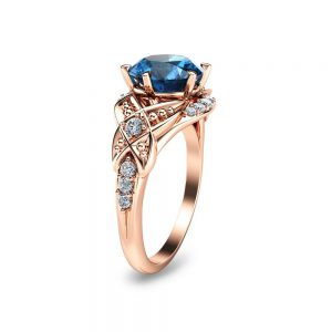 Rose Gold Engagement Ring-14K Rose Gold London Blue Topaz Engagement Ring-8mm London Blue Topaz Ring