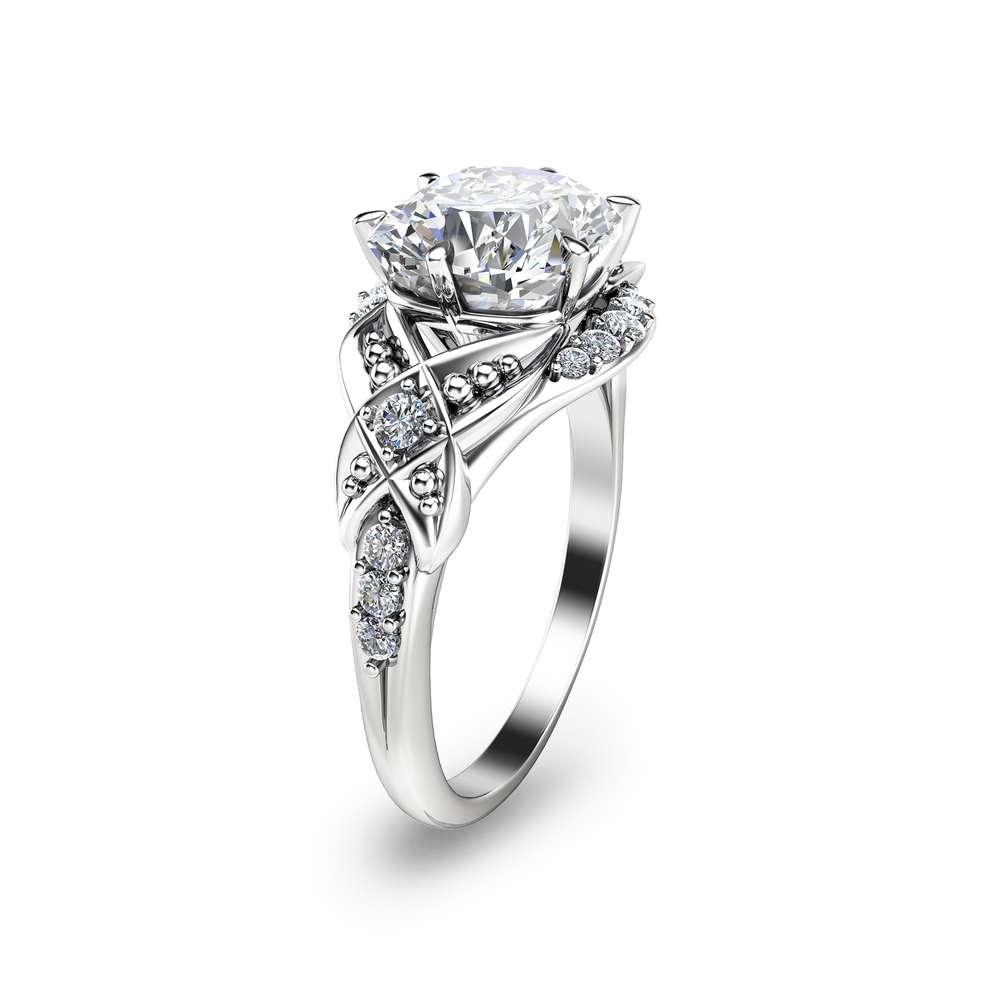 Cushion Moissanite Engagement Ring Unique 14K White Gold Engagement Ring Cushion 2Ct Moissanite Ring