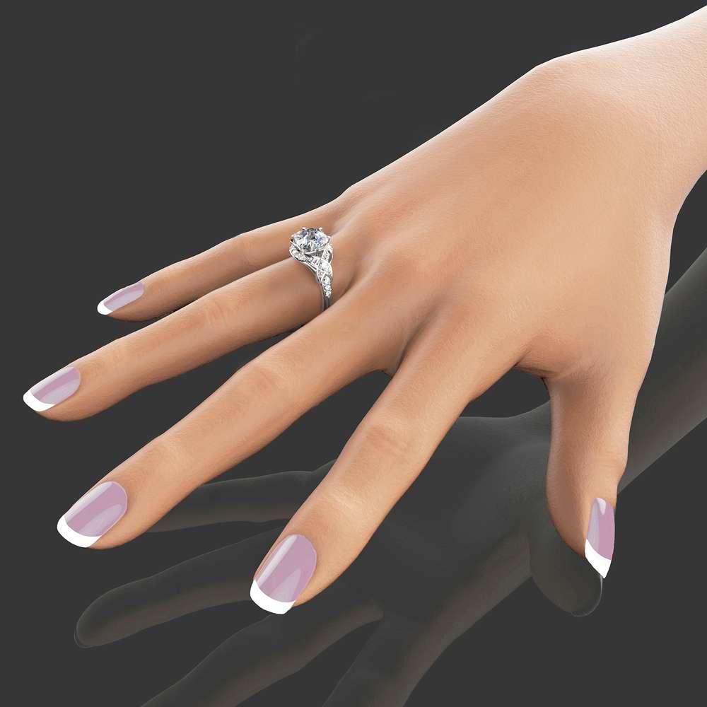 Oval Moissanite Engagement Ring 14K White Gold Oval Engagement Ring Halo Engagement Ring White Gold Engagement Ring