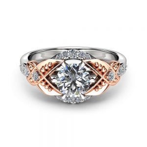 Two Tone Gold Moissanite Engagement Ring Vintage Engagement Ring Vintage 1CT Promise Ring