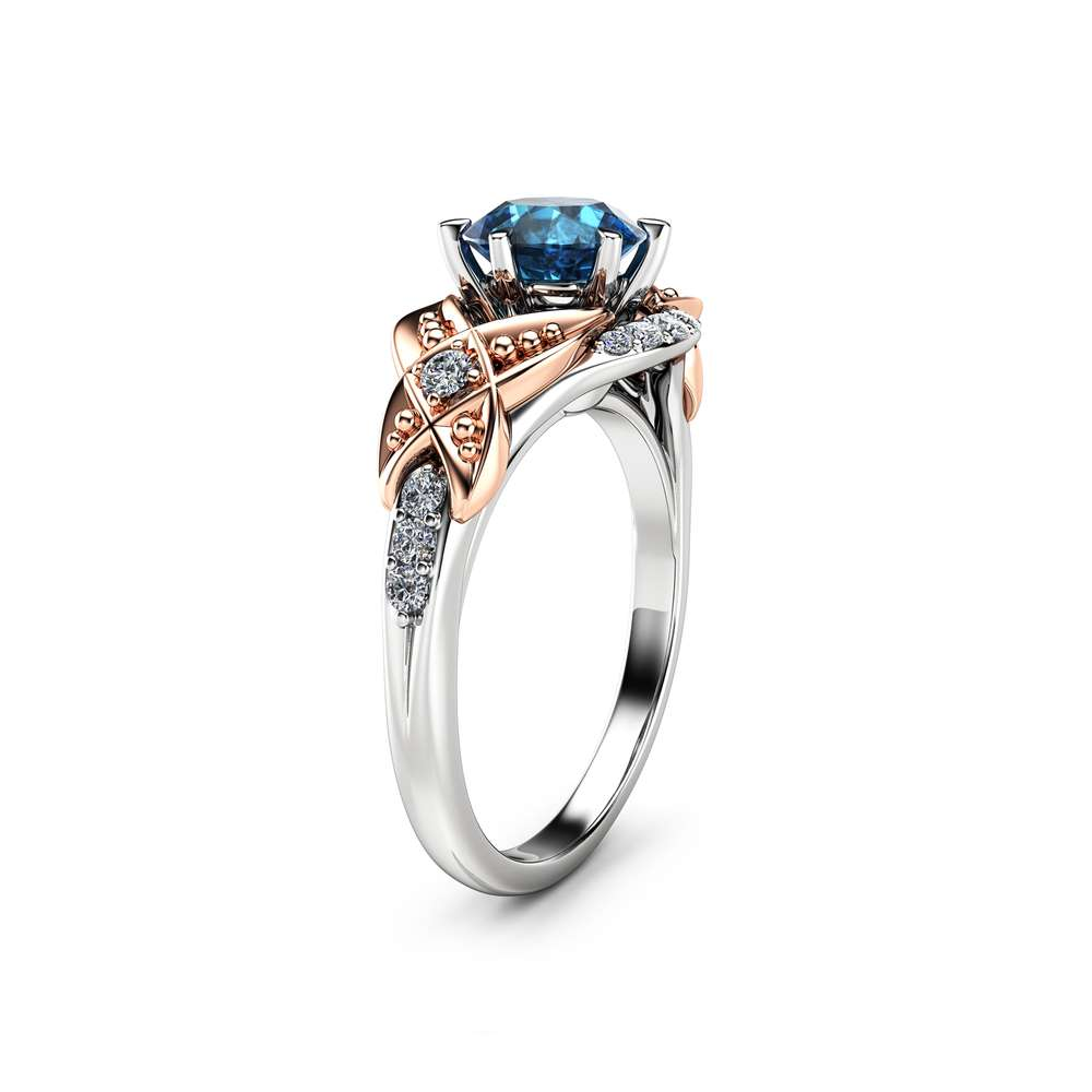 Two Tone Gold Blue Diamond Ring 14K Vintage Engagement Ring Vintage Blue Diamond Ring