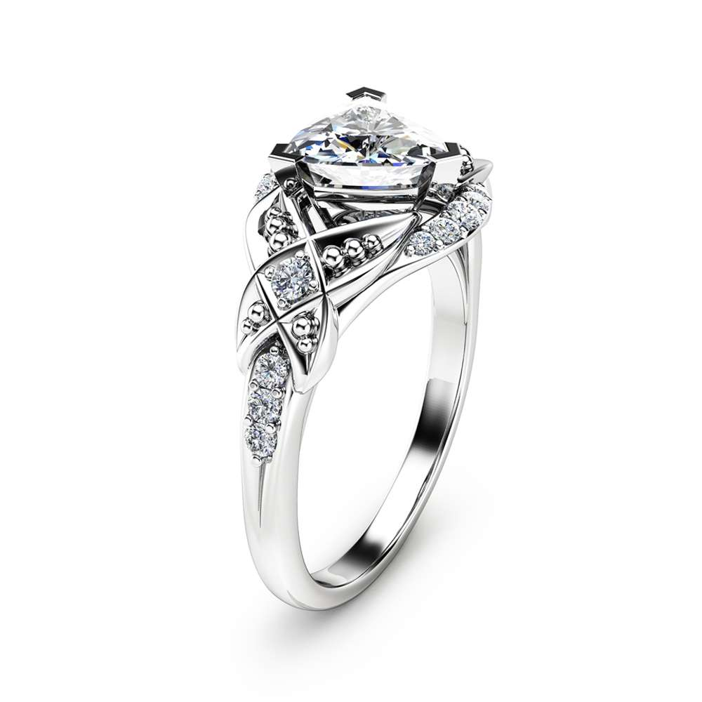 Trillion Cut Moissanite Engagement Ring 14K White Gold Engagement Ring Unique Trillion Moissanite Ring