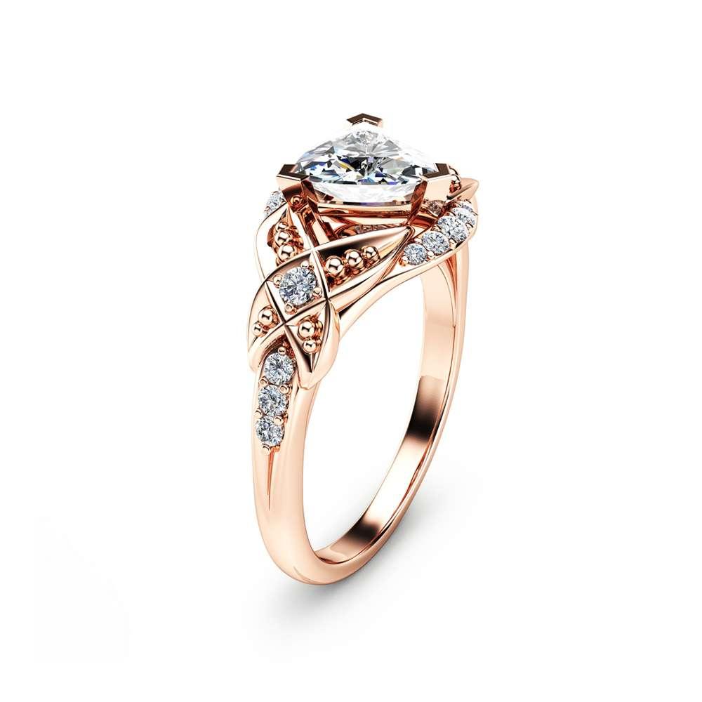 Trillion Cut Moissanite Engagement Ring 14K Rose Gold Engagement Ring Unique Trillion Moissanite Ring