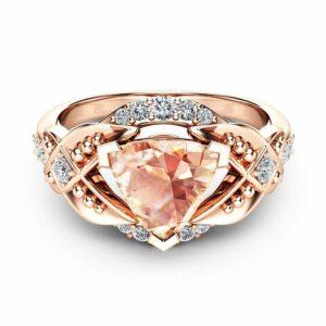 Trillion Cut Morganite Engagement Ring 14K Rose Gold Engagement Ring Unique Trillion Morganite Ring