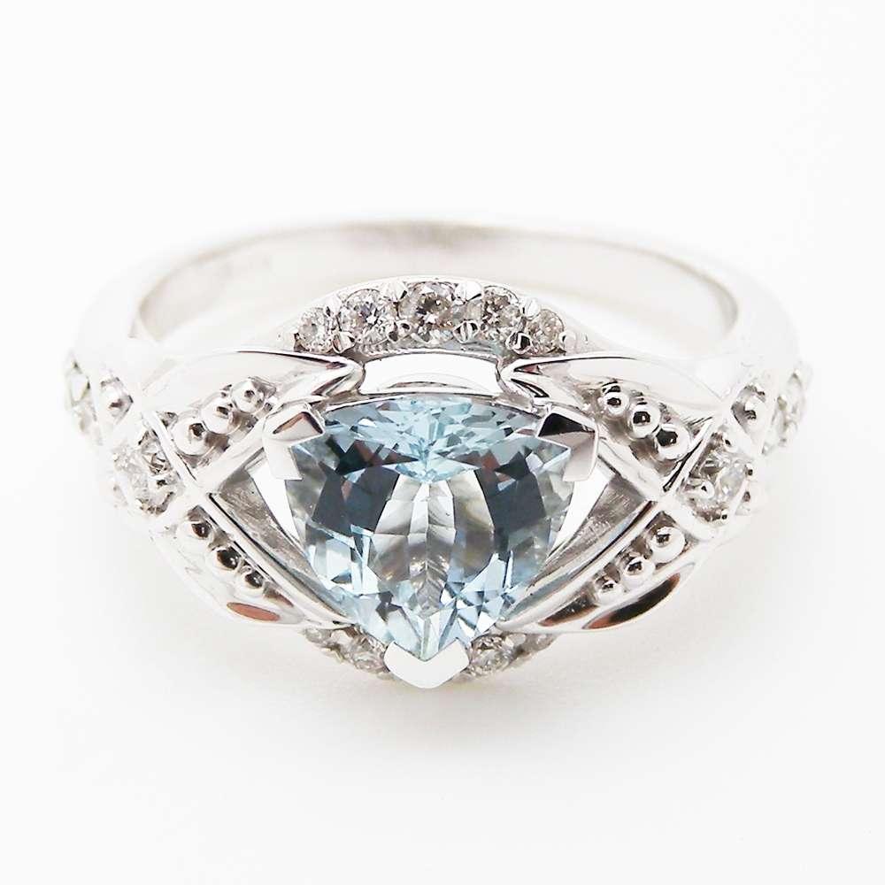 Trillion Aquamarine Engagement Ring Unique Trillion Engagement Ring 14K White Gold Aquamarine Ring