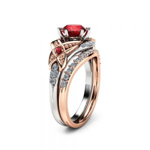 Wedding Ruby Engagement Ring Set 14K Two Tone Gold Engagement Rings Ruby Ring with Half Eternity Band