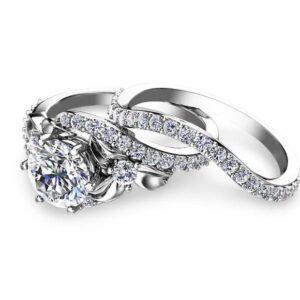 Flower Engagement Ring Set 14K White Gold Engagement Rings Flower 1ct Moissanite Ring with Half Eternity Band