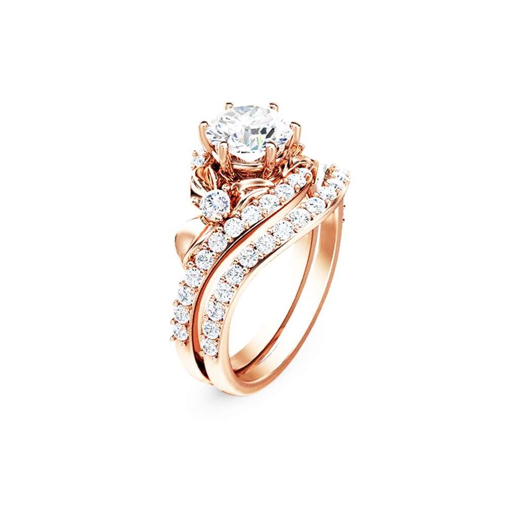 Flower Engagement Ring Set 14K Rose Gold Engagement Rings Flower 1ct Moissanite Ring with Half Eternity Band