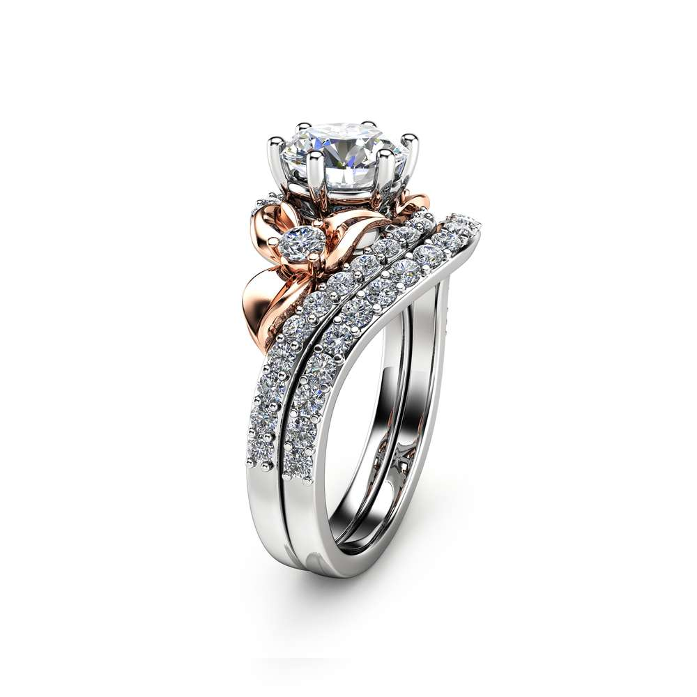 Moissanite Unique Engagement Ring Set 14K Two Tone Gold Engagement Rings Unique Forever Brilliant Moissanite Ring