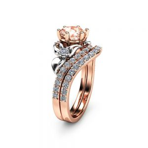 Morganite Unique Engagement Ring Set 14K Two Tone Gold Engagement Rings Unique Morganite Rose Gold Rings