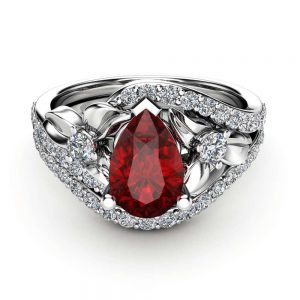 Pear Shaped Ruby Engagement Ring Set 14K White Gold Floral Rings Pear Cut Ring with Matching Diamond Band