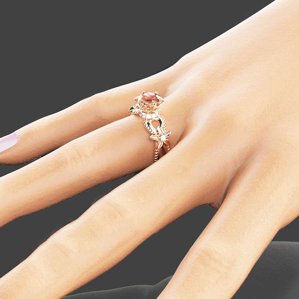 Peach Pink Morganite Engagement Ring Handmade 14K Rose Gold Ring Art Deco Engagement Ring Unique Flower Ring