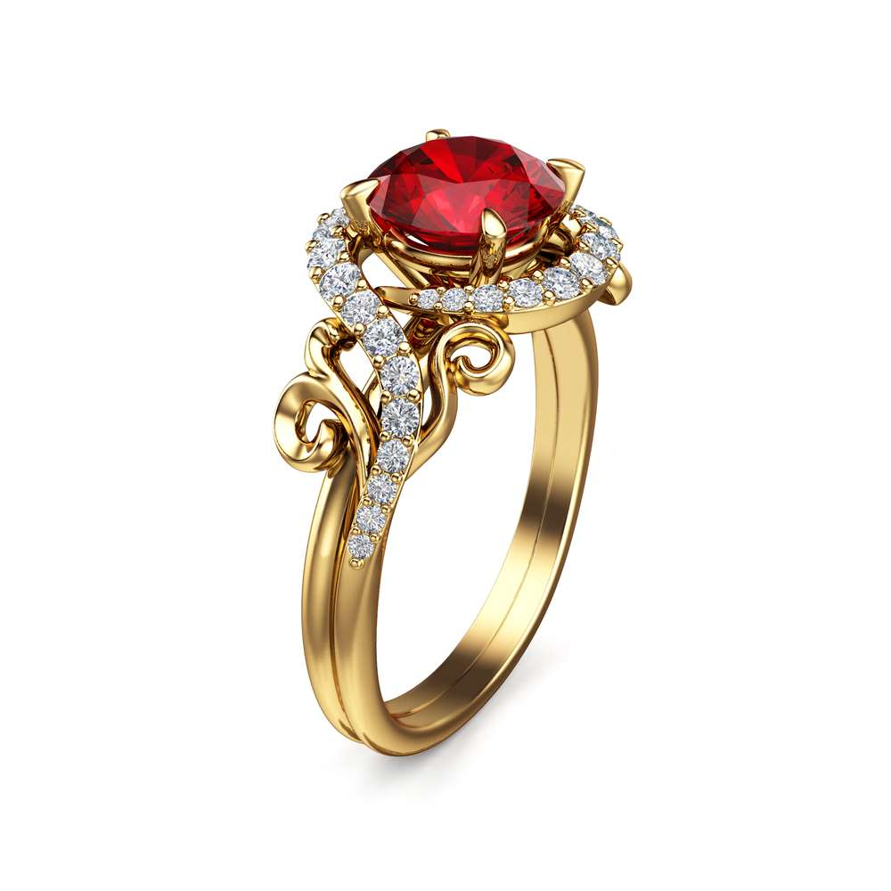 Ruby Wedding Engagement Ring 14K Yellow Gold Natural Ruby Ring Halo Engagement Ring Unique Wedding RIng