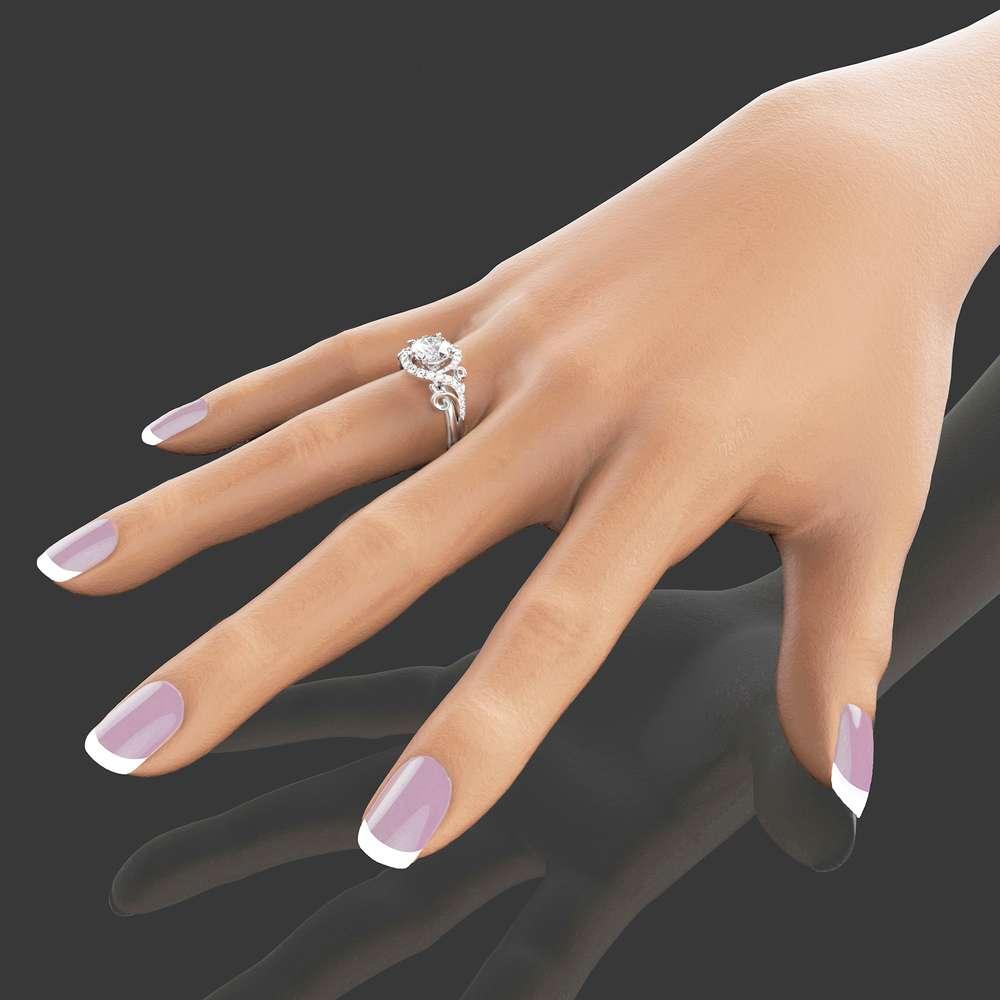 Unique Engagement Moissanite Ring 14K White Gold Moissanite Ring Unique Design Engagement Ring