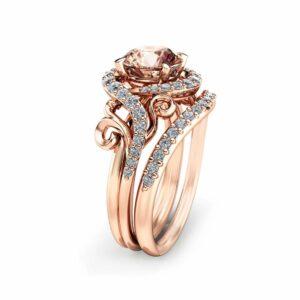 Rose Gold Morganite Engagement Ring Set Unique Rose Gold Morganite Ring with Matching Band Diamond Engagement Rings