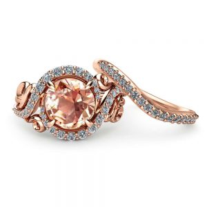 Rose Gold Morganite Engagement Ring Set Unique Rose Gold Morganite Ring with Matching Band Diamond Engagement Rings