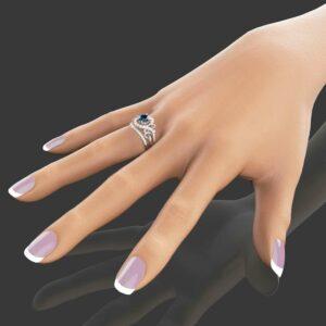 Blue Diamond Engagement Ring Set Unique 14K White Gold Ring with Matching Band Blue Diamond Engagement Ring