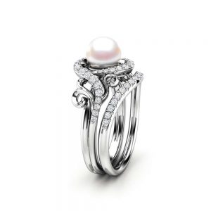 Pearl Engagement Ring Set White Gold Ring Leaf Engagement Ring Gold Pearl Ring