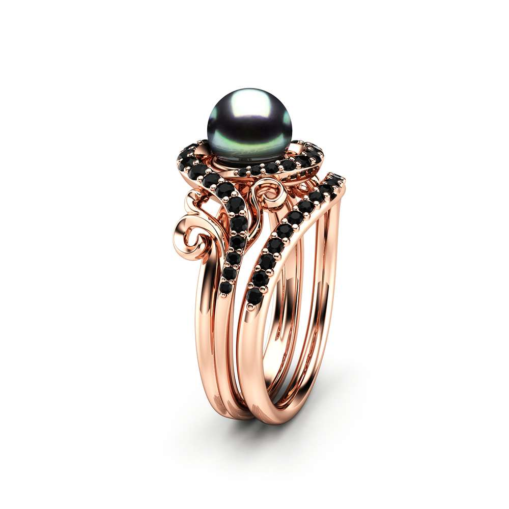 Black Pearl Engagement Ring Set Rose Gold Rings Leaf Engagement Ring Black Diamonds Rings