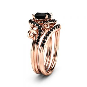 Rose Gold Diamonds Engagement Ring Set Unique Black Diamond Leaf Ring with Matching Band