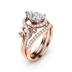 Pear Engagement Ring Set Pear Cut Moissanite Ring 14K Rose Gold Ring Unique Wedding Rings