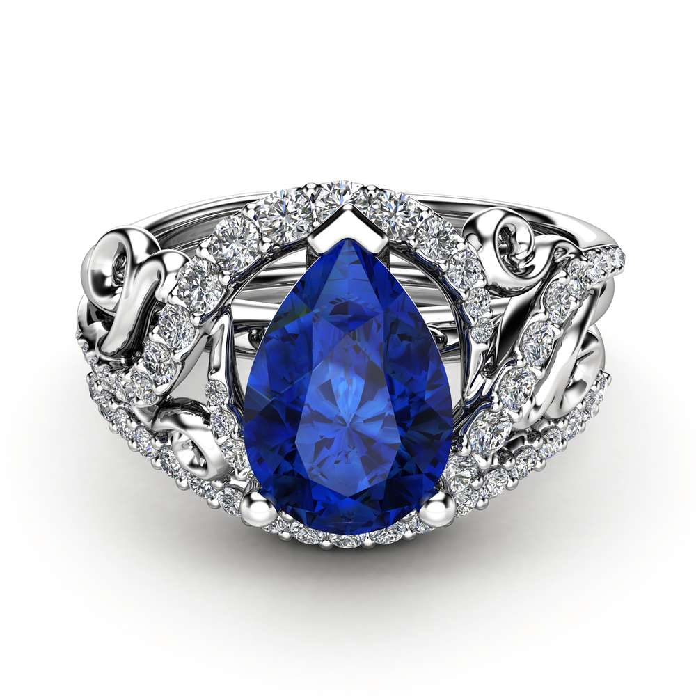 Sapphire Engagement Ring Set Pear Cut Sapphire Ring 14K White Gold Ring Unique Wedding Rings September Birthstone