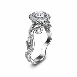 Halo Diamond Engagement Ring 14K White Gold Engagement Ring Natural Diamond Wedding Ring