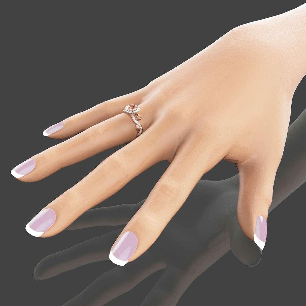 Art Deco Rose Gold Morganite Ring 14K Rose Gold Engagement Ring Unique Engagement Ring Morganite Engagement Ring