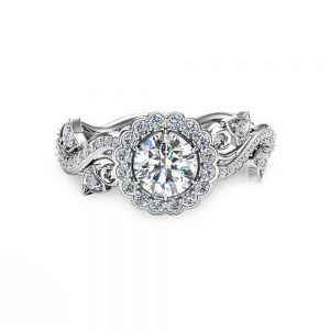 Halo Engagement Ring 14K White Gold Half Carat Natural Diamond Art Deco Engagement Ring
