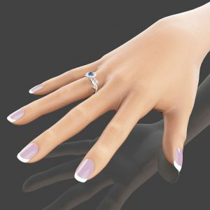 14K White Gold Topaz and Diamonds Engagement Ring Topaz Engagement Ring Unique Engagement Ring