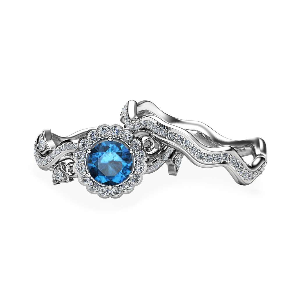 London Blue Topaz Proposal Rings Topaz Engagement Ring Set White Gold Leaf Promise Rings November Birthstone