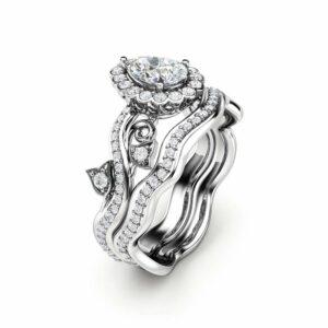 Pear Shaped Diamond Engagement Ring Halo Engagement Ring Set 14K White Gold Rings