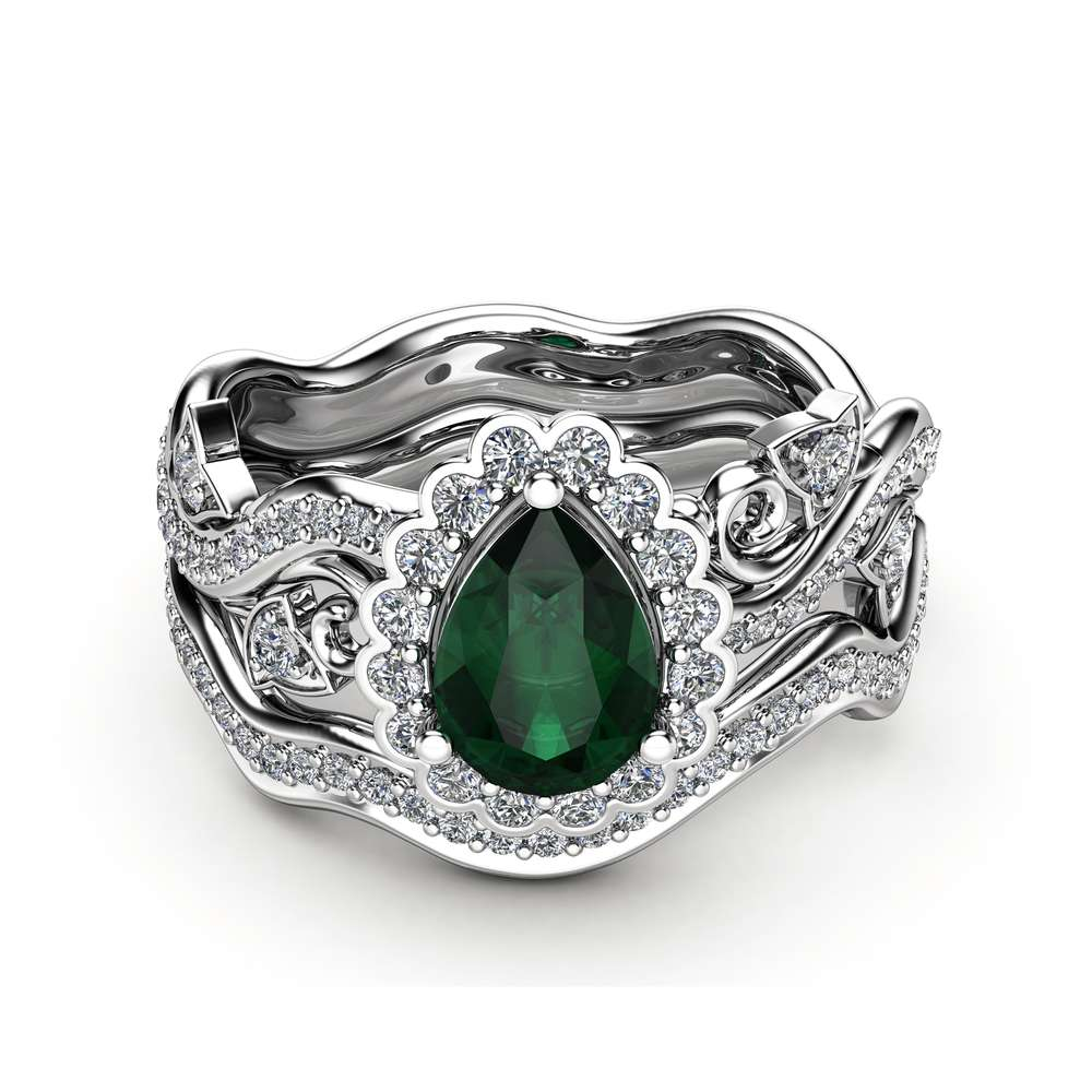 Emerald  Engagement Ring 14K White Gold Rings Pear Emerald Ring Halo Engagement Ring Set