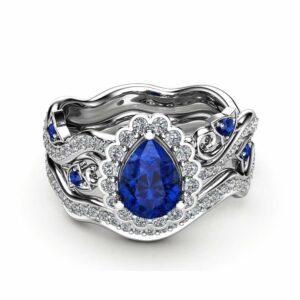 Sapphire Engagement Ring 14K White Gold Rings Pear Sapphire Ring Halo Engagement Ring Set