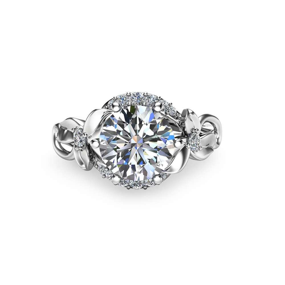 Unique 2 Carat Moissanite Ring Floral Design Moissanite Engagement Ring in 14k White Gold Vintage Style Ring